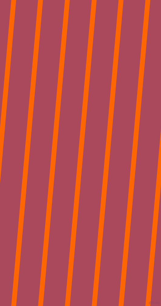 85 degree angle lines stripes, 16 pixel line width, 72 pixel line spacing, Safety Orange and Hippie Pink angled lines and stripes seamless tileable
