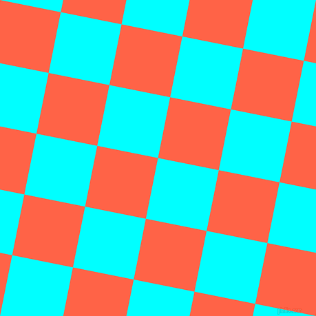 79/169 degree angle diagonal checkered chequered squares checker pattern checkers background, 90 pixel squares size, Aqua and Tomato checkers chequered checkered squares seamless tileable