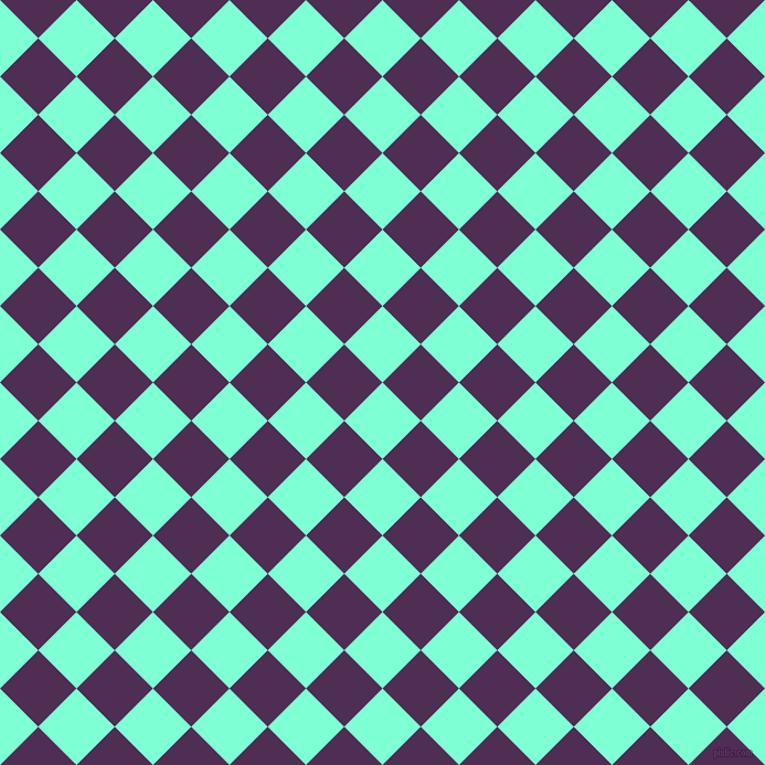45/135 degree angle diagonal checkered chequered squares checker pattern checkers background, 49 pixel square size, , Aquamarine and Hot Purple checkers chequered checkered squares seamless tileable