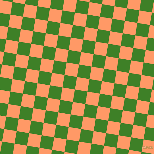 81/171 degree angle diagonal checkered chequered squares checker pattern checkers background, 42 pixel square size, , Atomic Tangerine and Bilbao checkers chequered checkered squares seamless tileable