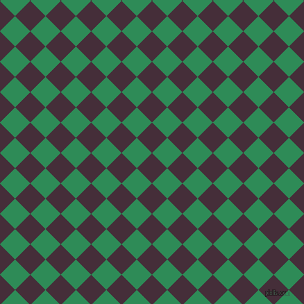 45/135 degree angle diagonal checkered chequered squares checker pattern checkers background, 31 pixel square size, Barossa and Sea Green checkers chequered checkered squares seamless tileable