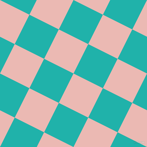 63/153 degree angle diagonal checkered chequered squares checker pattern checkers background, 110 pixel square size, Beauty Bush and Light Sea Green checkers chequered checkered squares seamless tileable