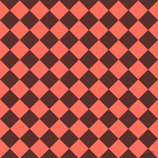 45/135 degree angle diagonal checkered chequered squares checker pattern checkers background, 45 pixel squares size, , Bittersweet and Moccaccino checkers chequered checkered squares seamless tileable