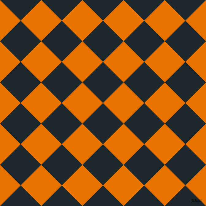 45/135 degree angle diagonal checkered chequered squares checker pattern checkers background, 95 pixel square size, , Black Pearl and Mango Tango checkers chequered checkered squares seamless tileable