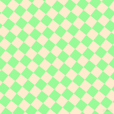 51/141 degree angle diagonal checkered chequered squares checker pattern checkers background, 34 pixel square size, , Blanched Almond and Pale Green checkers chequered checkered squares seamless tileable