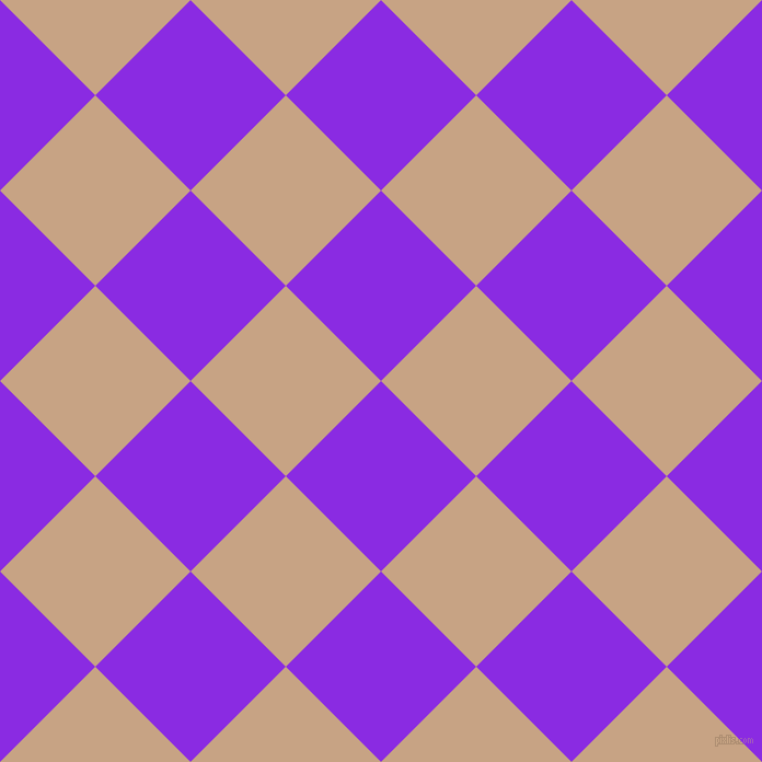 45/135 degree angle diagonal checkered chequered squares checker pattern checkers background, 123 pixel square size, , Blue Violet and Rodeo Dust checkers chequered checkered squares seamless tileable