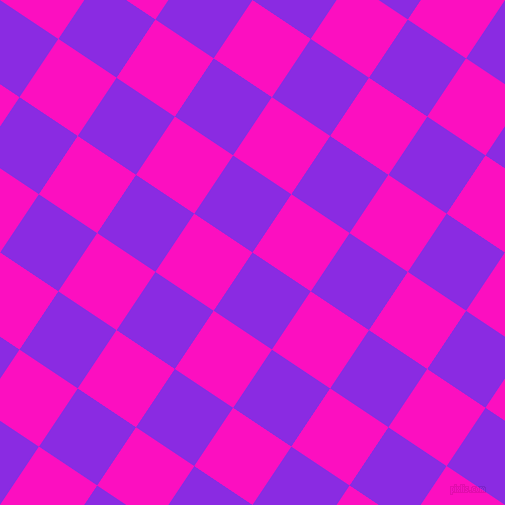 56/146 degree angle diagonal checkered chequered squares checker pattern checkers background, 70 pixel square size, , Blue Violet and Shocking Pink checkers chequered checkered squares seamless tileable