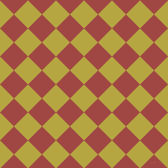 45/135 degree angle diagonal checkered chequered squares checker pattern checkers background, 64 pixel square size, , Brass and Roof Terracotta checkers chequered checkered squares seamless tileable