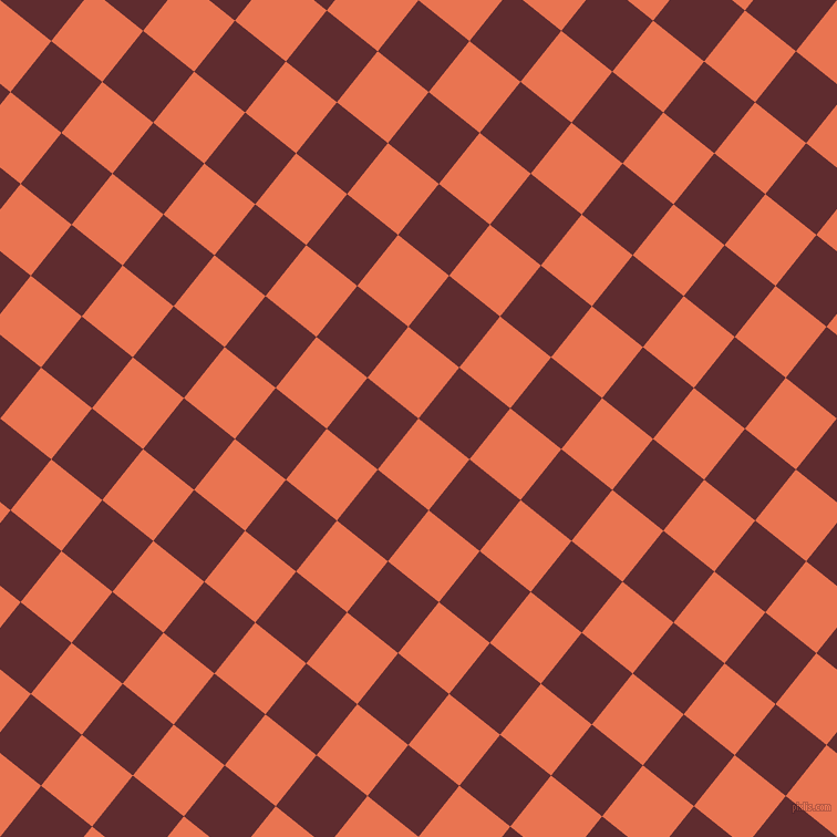 51/141 degree angle diagonal checkered chequered squares checker pattern checkers background, 59 pixel squares size, , Burnt Sienna and Jazz checkers chequered checkered squares seamless tileable