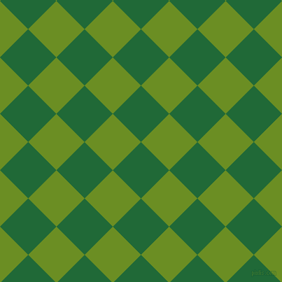 45/135 degree angle diagonal checkered chequered squares checker pattern checkers background, 57 pixel square size, Camarone and Olive Drab checkers chequered checkered squares seamless tileable