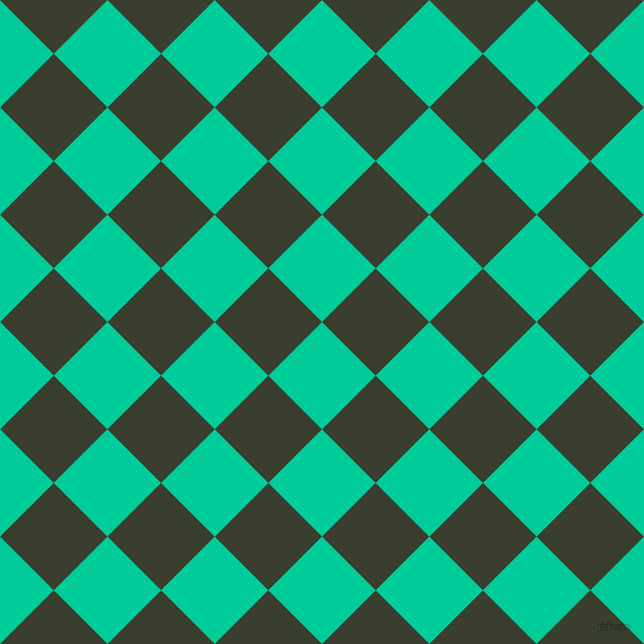 45/135 degree angle diagonal checkered chequered squares checker pattern checkers background, 84 pixel squares size, Caribbean Green and Log Cabin checkers chequered checkered squares seamless tileable