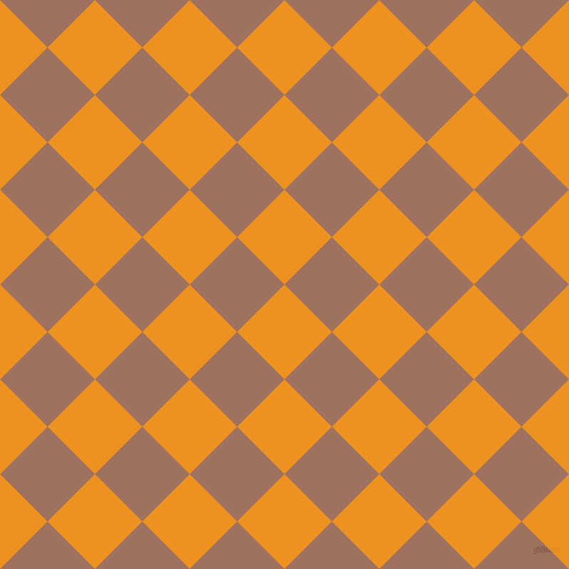 45/135 degree angle diagonal checkered chequered squares checker pattern checkers background, 94 pixel square size, , Carrot Orange and Toast checkers chequered checkered squares seamless tileable