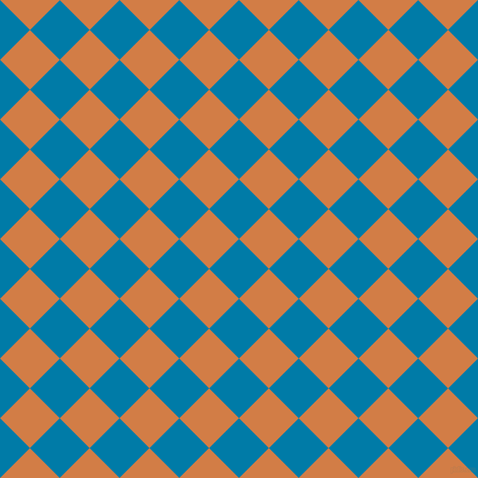 45/135 degree angle diagonal checkered chequered squares checker pattern checkers background, 60 pixel square size, , Cerulean and Raw Sienna checkers chequered checkered squares seamless tileable