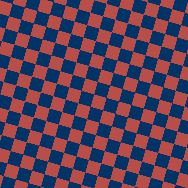 74/164 degree angle diagonal checkered chequered squares checker pattern checkers background, 45 pixel squares size, , Chestnut and Prussian Blue checkers chequered checkered squares seamless tileable