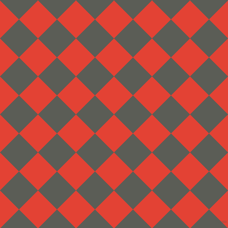 45/135 degree angle diagonal checkered chequered squares checker pattern checkers background, 89 pixel squares size, , Cinnabar and Chicago checkers chequered checkered squares seamless tileable