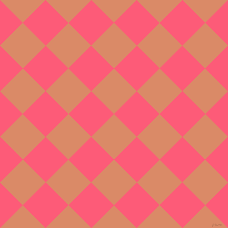 45/135 degree angle diagonal checkered chequered squares checker pattern checkers background, 109 pixel squares size, , Copper and Wild Watermelon checkers chequered checkered squares seamless tileable