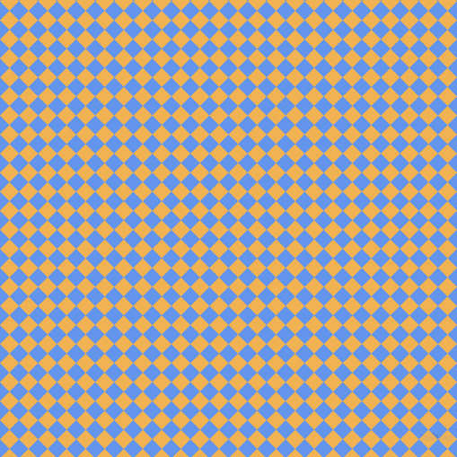 45/135 degree angle diagonal checkered chequered squares checker pattern checkers background, 15 pixel squares size, Cornflower Blue and Casablanca checkers chequered checkered squares seamless tileable