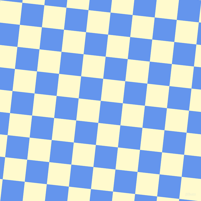 84/174 degree angle diagonal checkered chequered squares checker pattern checkers background, 76 pixel squares size, , Cornflower Blue and Lemon Chiffon checkers chequered checkered squares seamless tileable