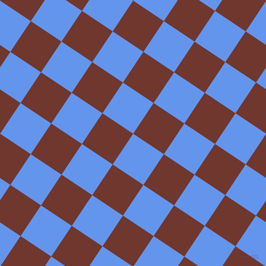 56/146 degree angle diagonal checkered chequered squares checker pattern checkers background, 72 pixel squares size, , Cornflower Blue and Mocha checkers chequered checkered squares seamless tileable