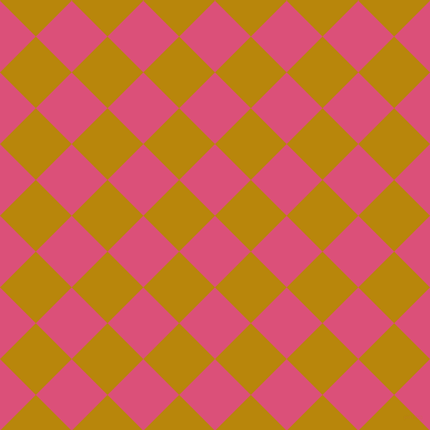 45/135 degree angle diagonal checkered chequered squares checker pattern checkers background, 99 pixel square size, , Cranberry and Dark Goldenrod checkers chequered checkered squares seamless tileable
