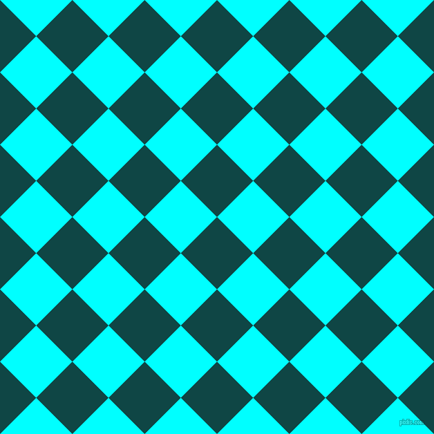 45/135 degree angle diagonal checkered chequered squares checker pattern checkers background, 74 pixel square size, , Cyprus and Aqua checkers chequered checkered squares seamless tileable
