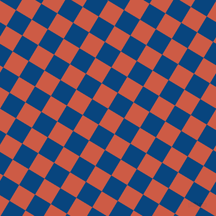 59/149 degree angle diagonal checkered chequered squares checker pattern checkers background, 37 pixel square size, , Dark Coral and Dark Cerulean checkers chequered checkered squares seamless tileable