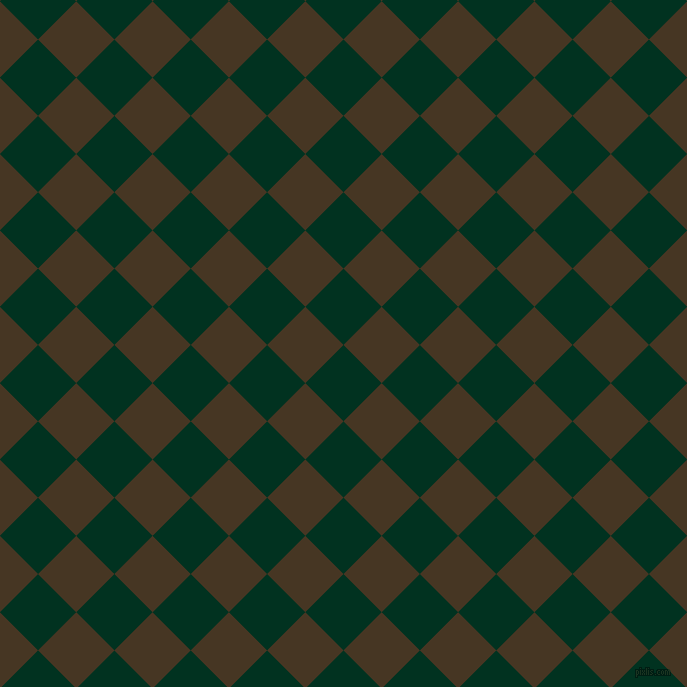 45/135 degree angle diagonal checkered chequered squares checker pattern checkers background, 54 pixel squares size, , Dark Green and Clinker checkers chequered checkered squares seamless tileable