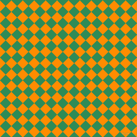 45/135 degree angle diagonal checkered chequered squares checker pattern checkers background, 26 pixel square size, , Dark Orange and Sea Green checkers chequered checkered squares seamless tileable