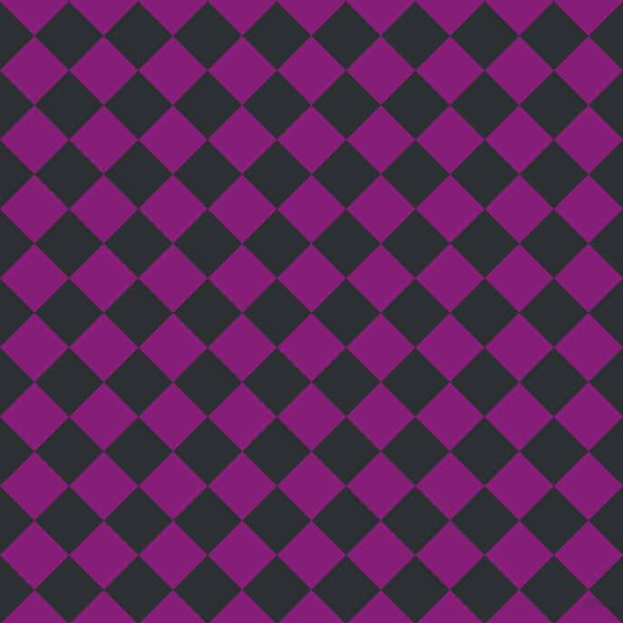 45/135 degree angle diagonal checkered chequered squares checker pattern checkers background, 54 pixel squares size, , Dark Purple and Cod Grey checkers chequered checkered squares seamless tileable