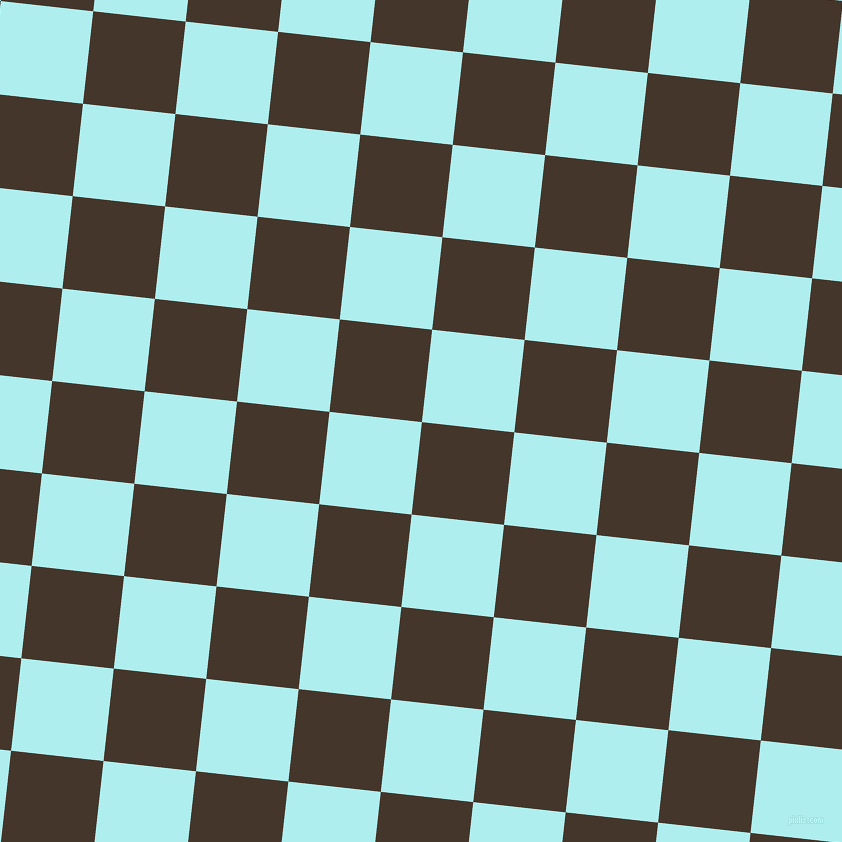84/174 degree angle diagonal checkered chequered squares checker pattern checkers background, 93 pixel squares size, , Dark Rum and Pale Turquoise checkers chequered checkered squares seamless tileable