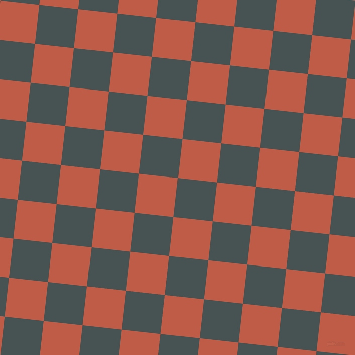 84/174 degree angle diagonal checkered chequered squares checker pattern checkers background, 78 pixel square size, , Dark Slate and Flame Pea checkers chequered checkered squares seamless tileable
