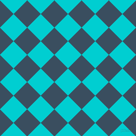 45/135 degree angle diagonal checkered chequered squares checker pattern checkers background, 63 pixel squares size, , Dark Turquoise and Cello checkers chequered checkered squares seamless tileable