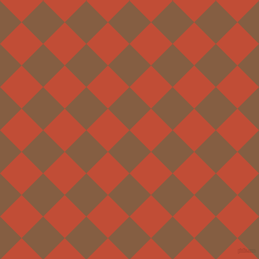 45/135 degree angle diagonal checkered chequered squares checker pattern checkers background, 62 pixel squares size, , Dark Wood and Grenadier checkers chequered checkered squares seamless tileable