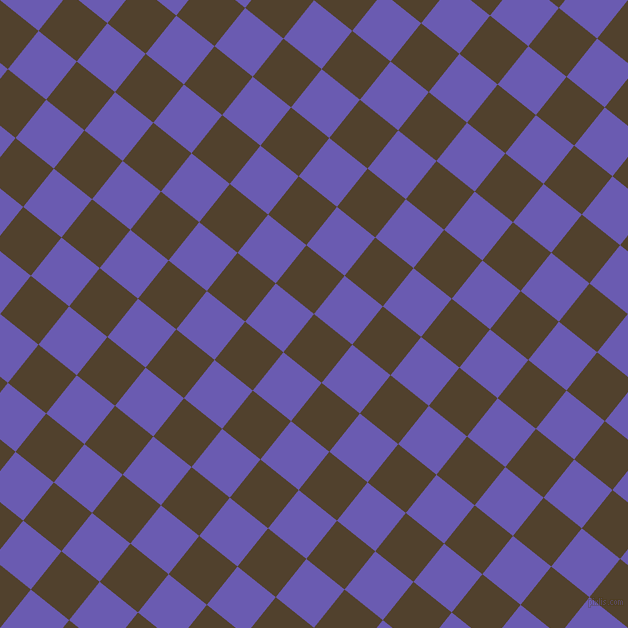 51/141 degree angle diagonal checkered chequered squares checker pattern checkers background, 49 pixel square size, , Deep Bronze and Blue Marguerite checkers chequered checkered squares seamless tileable