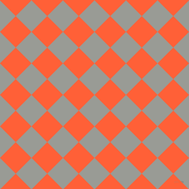 45/135 degree angle diagonal checkered chequered squares checker pattern checkers background, 85 pixel square size, , Delta and Outrageous Orange checkers chequered checkered squares seamless tileable