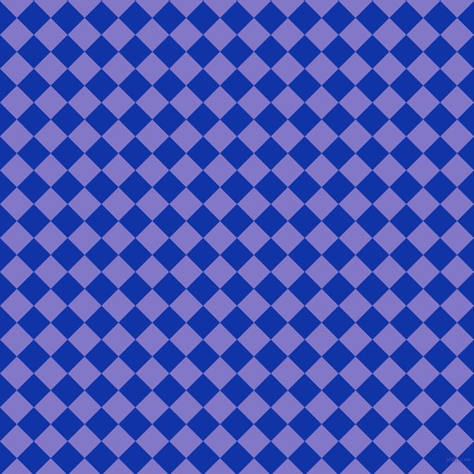 45/135 degree angle diagonal checkered chequered squares checker pattern checkers background, 34 pixel squares size, , Egyptian Blue and Moody Blue checkers chequered checkered squares seamless tileable