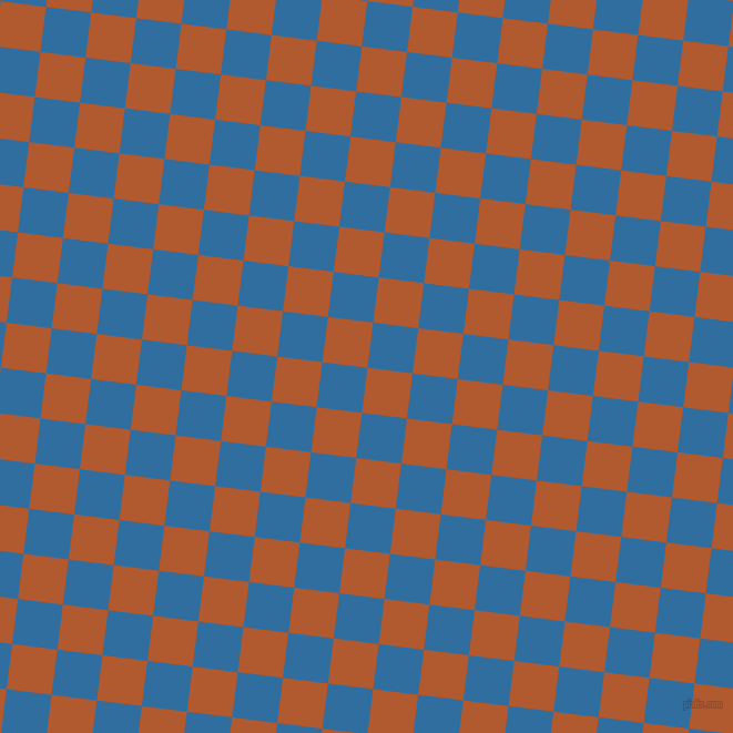 83/173 degree angle diagonal checkered chequered squares checker pattern checkers background, 41 pixel squares size, , Fiery Orange and Lochmara checkers chequered checkered squares seamless tileable