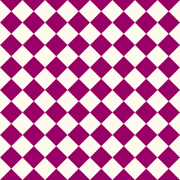 45/135 degree angle diagonal checkered chequered squares checker pattern checkers background, 56 pixel squares size, , Floral White and Eggplant checkers chequered checkered squares seamless tileable