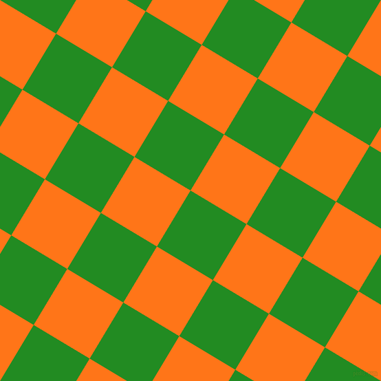59/149 degree angle diagonal checkered chequered squares checker pattern checkers background, 95 pixel square size, , Forest Green and Pumpkin checkers chequered checkered squares seamless tileable