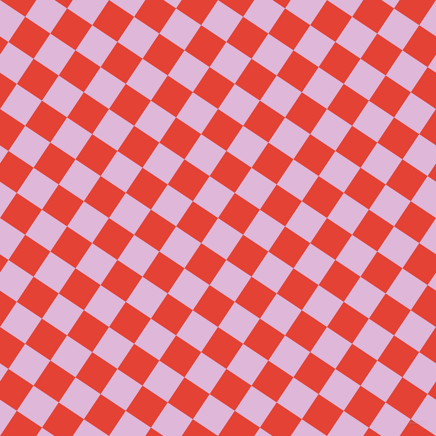 56/146 degree angle diagonal checkered chequered squares checker pattern checkers background, 59 pixel squares size, French Lilac and Cinnabar checkers chequered checkered squares seamless tileable