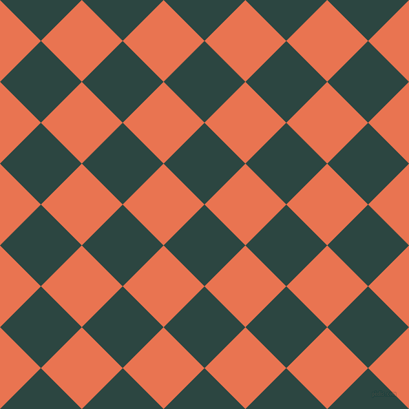 45/135 degree angle diagonal checkered chequered squares checker pattern checkers background, 84 pixel squares size, , Gable Green and Burnt Sienna checkers chequered checkered squares seamless tileable