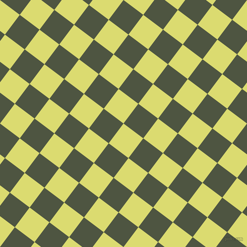 53/143 degree angle diagonal checkered chequered squares checker pattern checkers background, 49 pixel square size, , Goldenrod and Lunar Green checkers chequered checkered squares seamless tileable
