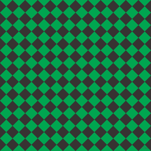 45/135 degree angle diagonal checkered chequered squares checker pattern checkers background, 34 pixel square size, , Gondola and Pigment Green checkers chequered checkered squares seamless tileable
