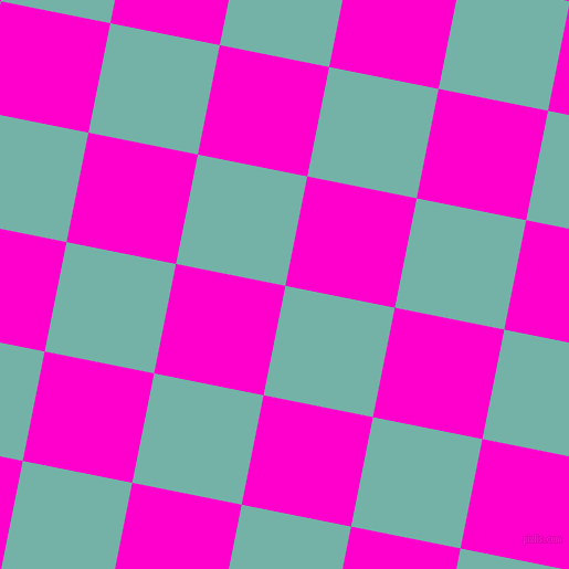 79/169 degree angle diagonal checkered chequered squares checker pattern checkers background, 101 pixel squares size, , Gulf Stream and Hot Magenta checkers chequered checkered squares seamless tileable
