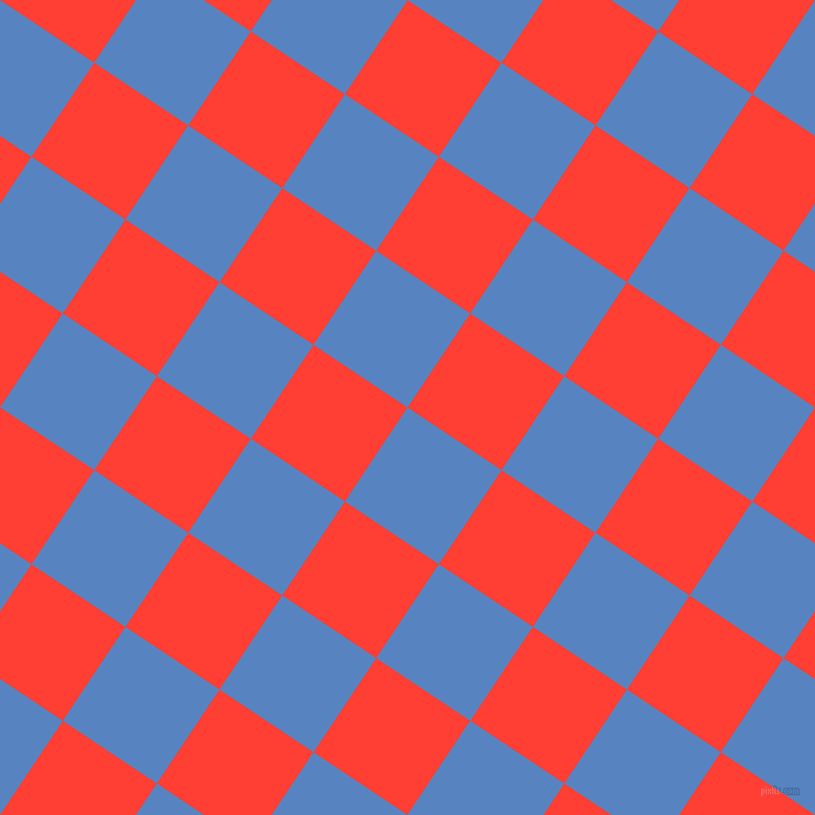 56/146 degree angle diagonal checkered chequered squares checker pattern checkers background, 103 pixel square size, , Havelock Blue and Red Orange checkers chequered checkered squares seamless tileable