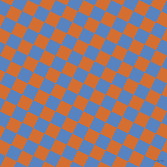 63/153 degree angle diagonal checkered chequered squares checker pattern checkers background, 43 pixel square size, , Havelock Blue and Tango checkers chequered checkered squares seamless tileable