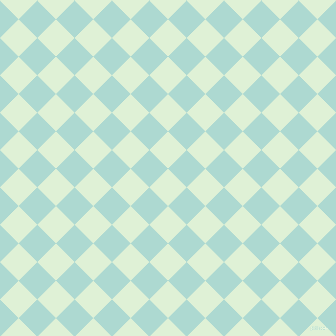 45/135 degree angle diagonal checkered chequered squares checker pattern checkers background, 54 pixel square size, , Hint Of Green and Scandal checkers chequered checkered squares seamless tileable
