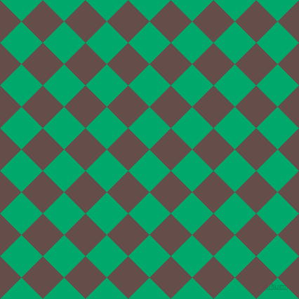 45/135 degree angle diagonal checkered chequered squares checker pattern checkers background, 43 pixel square size, , Jade and Congo Brown checkers chequered checkered squares seamless tileable