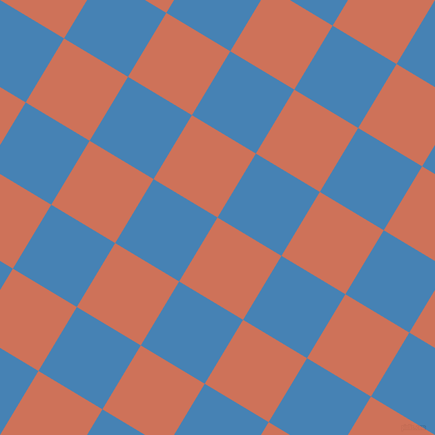 59/149 degree angle diagonal checkered chequered squares checker pattern checkers background, 108 pixel square size, , Japonica and Steel Blue checkers chequered checkered squares seamless tileable
