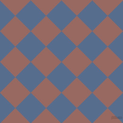 45/135 degree angle diagonal checkered chequered squares checker pattern checkers background, 72 pixel squares size, , Kashmir Blue and Dark Chestnut checkers chequered checkered squares seamless tileable